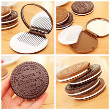 2pc Portable Cute Mini Cookie Shaped Design Mirror Makeup Chocolate Comb Tool BX