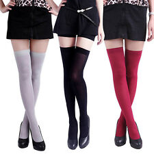 Women's Pure Color Opaque Sexy Thigh High Stockings Over The Knee Socks New