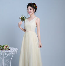 XL Double shoulder elastic waist slim tulle bridesmaid dress formal women dress