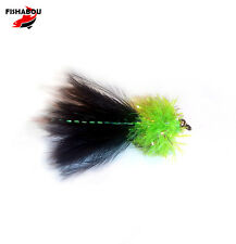 3 x CHARTREUSE UV FRITZ MINI LURE, black marabou, Size 10 ,12 or 14 TROUT FLIES