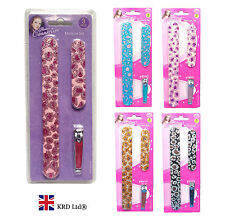 3 Pcs EMERY BOARDS & CLIPPER SET Sparkly Leopard Design Manicure Files Kit NEW