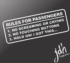 Rules For Passengers Vinyl Decal Car Sticker Funny JDM Stance Euro WRX Truck Mud