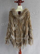 100% Real Genuine Knitted Rabbit Fur Raccoon Trim Poncho Cape Stole Hood Pocket