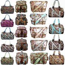 Ladies Owl Oilcloth Satchel School Travel Weekend Shoulder Hand Day Bag Backpack
