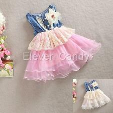 Flower Lace Girl Kid Baby Princess Jeans Denim Top Dress Tulle Cowgirl Skirt New