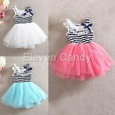 Lace Flower Striped Bow Tulle Dress Girl Kid Toddler Princess Tutu Skirt Costume