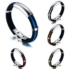 Mens Fashion Stainless Steel Rubber Silicone Cuff Bangle Bracelet Wrap Wristband