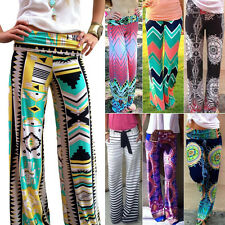 Womens Loose High Waist Wide Leg Long Straight Pant Palazzo Bohemian Trousers