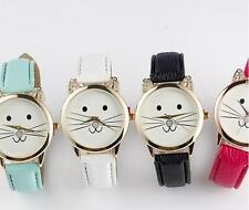 Lovely Quartz Neutral Watches Casual Cats Face Leather Watch Fashion Diamond