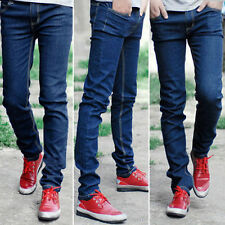 Men's Slim Fit Straight Washed Denim Pants Pencil Trousers Casual Jeans -- Blue