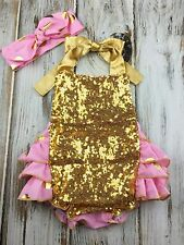 Baby Pink Gold Sequin Romper- Sequin First Birthday Outfit- Gold Ruffle Romper