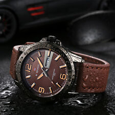 Outdoor Sport Army Military Date-Day Waterproof Leather Band Men Wrist Watch