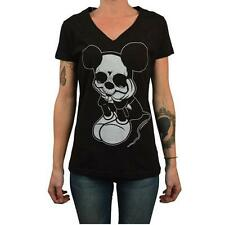 Sad Mouse by Josh Stebbins Womens Black V Neck Tee Shirt Dead Mickey Mouse