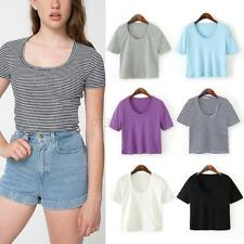 Womens Off Shoulder Stretch Corset Cropped Blouses Tee Tank Crop Tops S M L XL