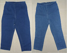CHEROKEE Capri Cropped Pull-on Stretch Denim Blue Jeans Elastic Waist Size M