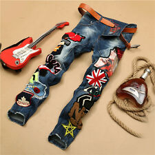 HOT TWINKLING ANGEL GIRLS LOGO MENS SLIM RIPPED HIP HOP DENIM JEANS CASUAL PANTS