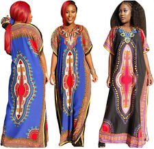 Stylish Women African Prints short sleeve dashiki Party Casual Kaftan Long Dress