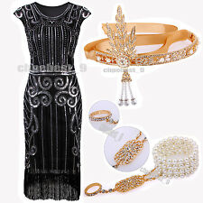 Vintage 1920's Flapper Dress Gatsby Charleston Sequin Beads Cocktail Party Dress