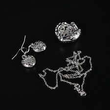 women lady silver Plated Fashion Beautiful cute Heart Necklace/Earrings