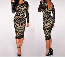 Dress Party Bodycon Bandage Lace Pencil Women Sexy Long Sleeve Evening Cocktail