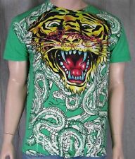 Ed Hardy Men's Green Tiger All Over SNAKE T Shirt L XL