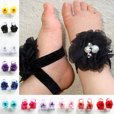 2 Pairs Cute Baby Kid Infant Beautiful Chiffon Foot Flower Barefoot Sandals Gift