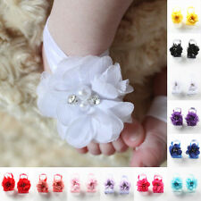 Handmade Foot Flower Barefoot Sandals Shoes Baby Infant Beautiful Gift  2 Pairs