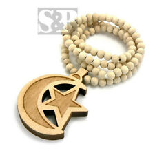 "Hip Hop MOON & STAR Good Quality Wood Pendant & 36"" Wooden Ball Chain Necklace"