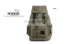Men's Canvas Vintage Backpack Rucksack Hiking Shoulder Travel Camping Laptop Bag