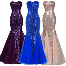 Sexy Mermaid Sequin Long Bridesmaid Dress Evening Formal Party Prom Wedding Gown
