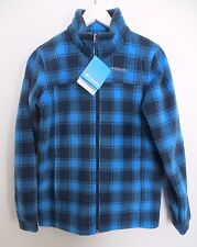 Columbia blue plaid check full zip fleece sweater jacket youth girls boys unisex