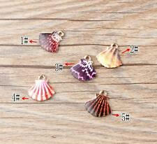 Fashion 10PCS Gold Tone Enamel Shell Charms Pendants DIY Jewelry Making 16x16mm