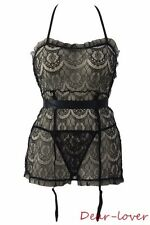Black Plus Size Flirty Women Sexy Sheer Lace Apron Babydoll Chemise W/ G-string