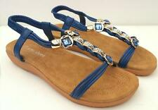PRETTY Sz 7.8.9.10.11 Diamante Beaded DRESS SANDALS Low Heels ANKLE STRAP Shoes