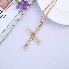 Fashion Men Stainless Steel Cross Pendant Necklace Chain Silver/Gold Unisex