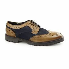 Base London CONFLICT Mens Suede/Leather Lace Up Two Tone Brogue Shoes Tan/Navy
