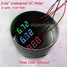 Waterproof DC 3.5-30V Digital LED Voltmeter Volt Meter Panel Mount 12V 24V Car