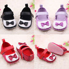 Infant Girls Baby Polka Dots Trainers Shoes Soft Sole Bowknot Prewalker Happy