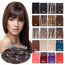 Any Colour Virgin 100%Real Clip In Remy Human Hair Extensions Clip Full Head 70g