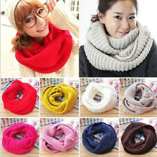 Woman Winter Warm Infinity 2Circle Cable Knit Cowl Neck Long Scarf Shawl