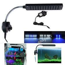 Aquarium Fish Tank 24/48LED Light Flexible Arm Clip on White/Blue 2/3 Modes Lamp