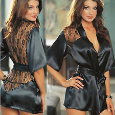 WOMEN'S COMFORTABLE SEXY LACE BACK BATHROBE SATIN ROBE & GOWN T-BACK / PANTIES