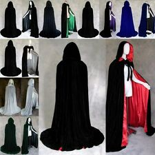 New 2017 Stock Medieval Hooded Cape Velvet Wedding Wicca Cloak Halloween S-XXL
