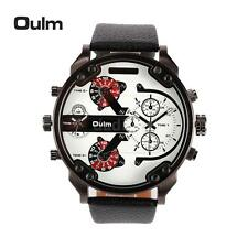 OULM Men Dual Time Quartz Watch Big Dial Sports Military Leather Band Watch R1E0