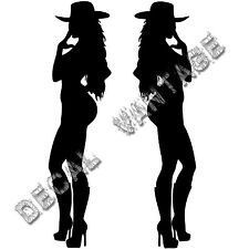 Pair of Cowgirl Silhouette Vinyl Sticker Decal Country - Choose Size & Color