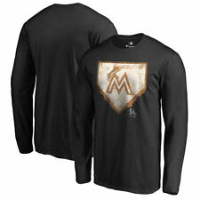 Miami Marlins Black Home Plate Collection Long Sleeve T-Shirt