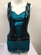 Dance Costume Adult Sizes Blue Sequin Fringe Dress Jazz Tap TRIO Competition