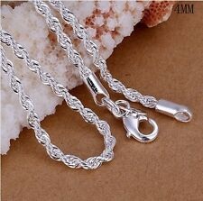 Fashion 925 Silver Lovely Flash Wrest Rope Chain Necklace 4MM 16inch - 24 inch