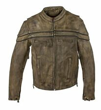 MENS MOTORCYCLE NAKED BROWN LEATHER JACKET WITH RFLCTIVE PIPING VENTS GUN POCKET
