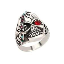 Male Fashion Jewelry Individual Punk Skull Ring Antique Silver Crystal Mens Ring